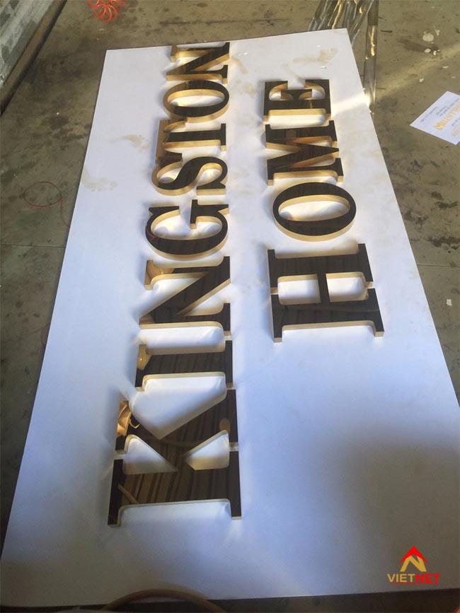 Chữ inox vàng KingSton Home 1