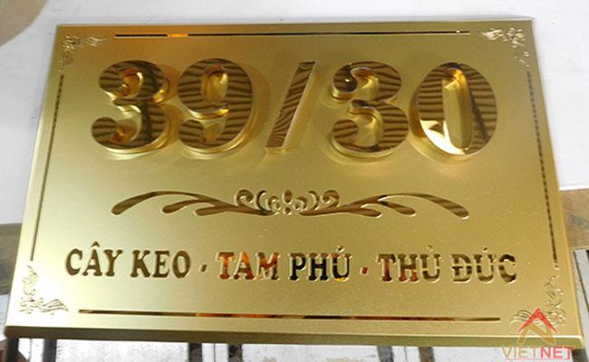 bảng số nhà inox vàng