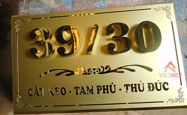 Mẫu bảng số nhà inox vàng tại Thủ Đức