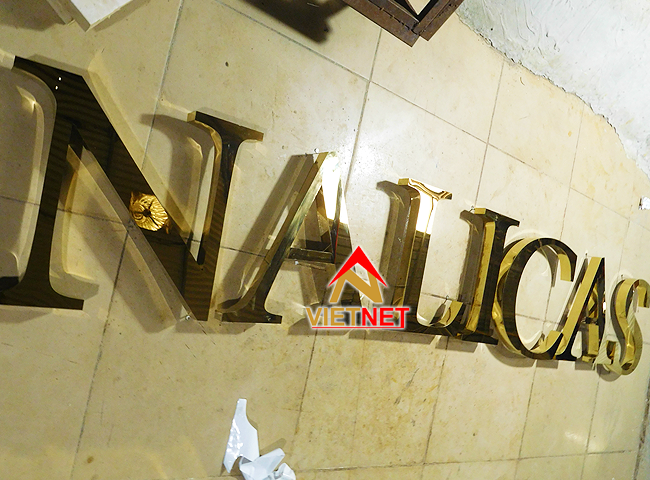 Chữ nổi inox vàng Nalicas