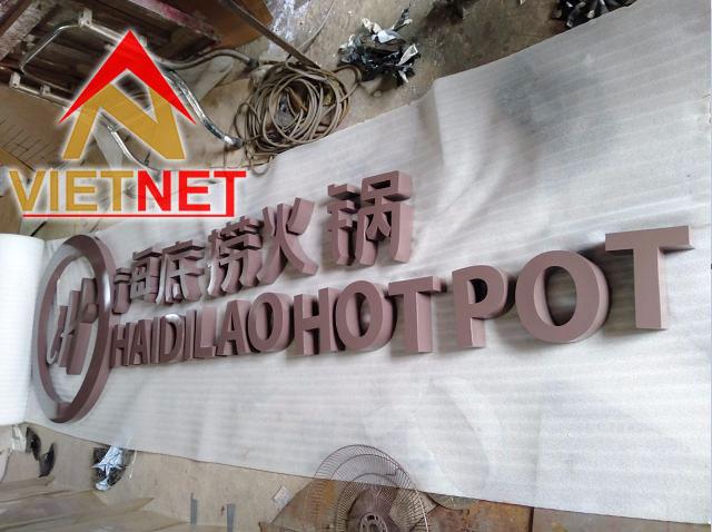Bảng hiệu chữ nổi inox sơn hấp nhiệt cho nhà hàng Hai Di Lao Hotpot