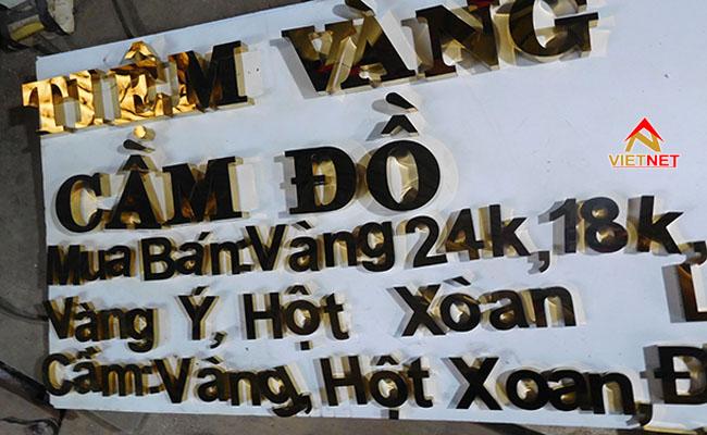 bảng hiệu chữ nổi inox tiệm vàng