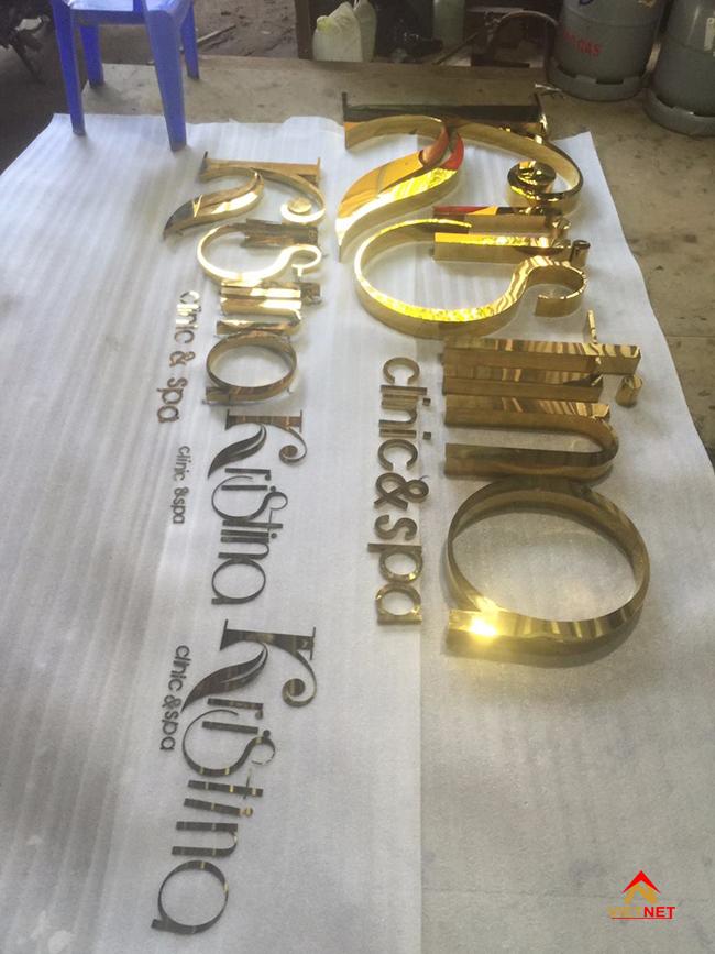 Bộ chữ inox vàng spa Cris tina